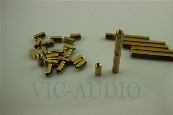 DIY HIFI Double Pass Flat Copper Hollow Pillars Six Angle Copper Stud Isolation Column M3 series